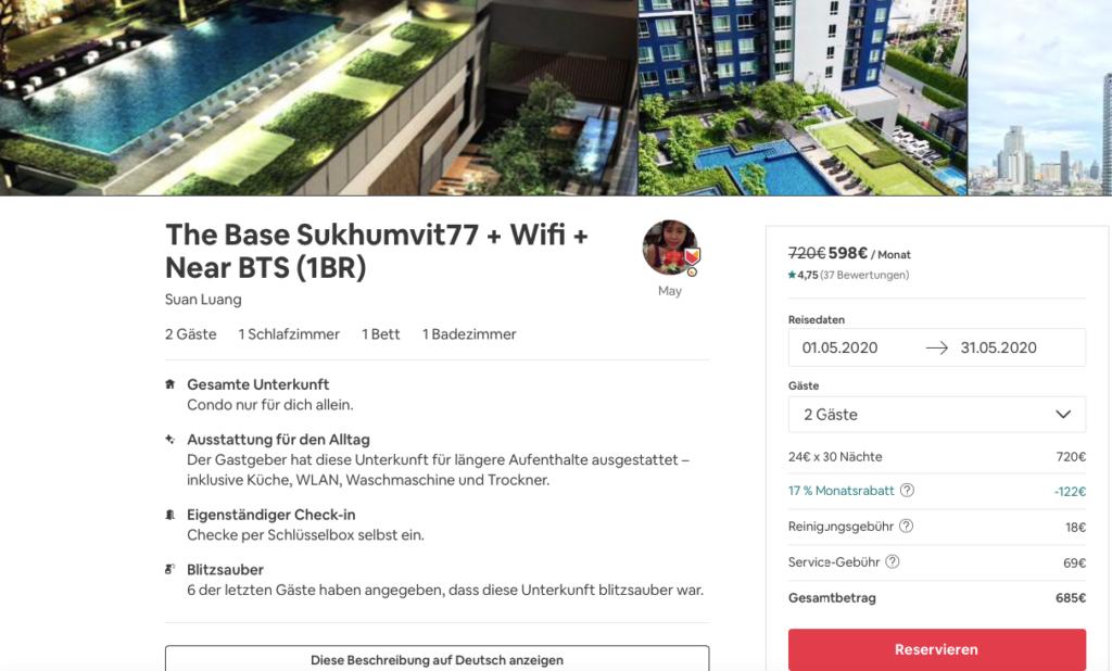 Airbnb, Unterkunft weltweit, Wohnungen, Bangkok
